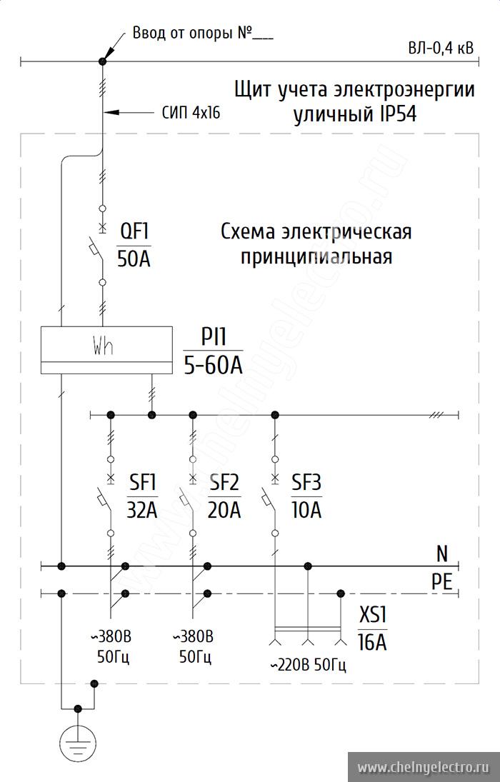 Схема электрическая принципиальная ЩУ